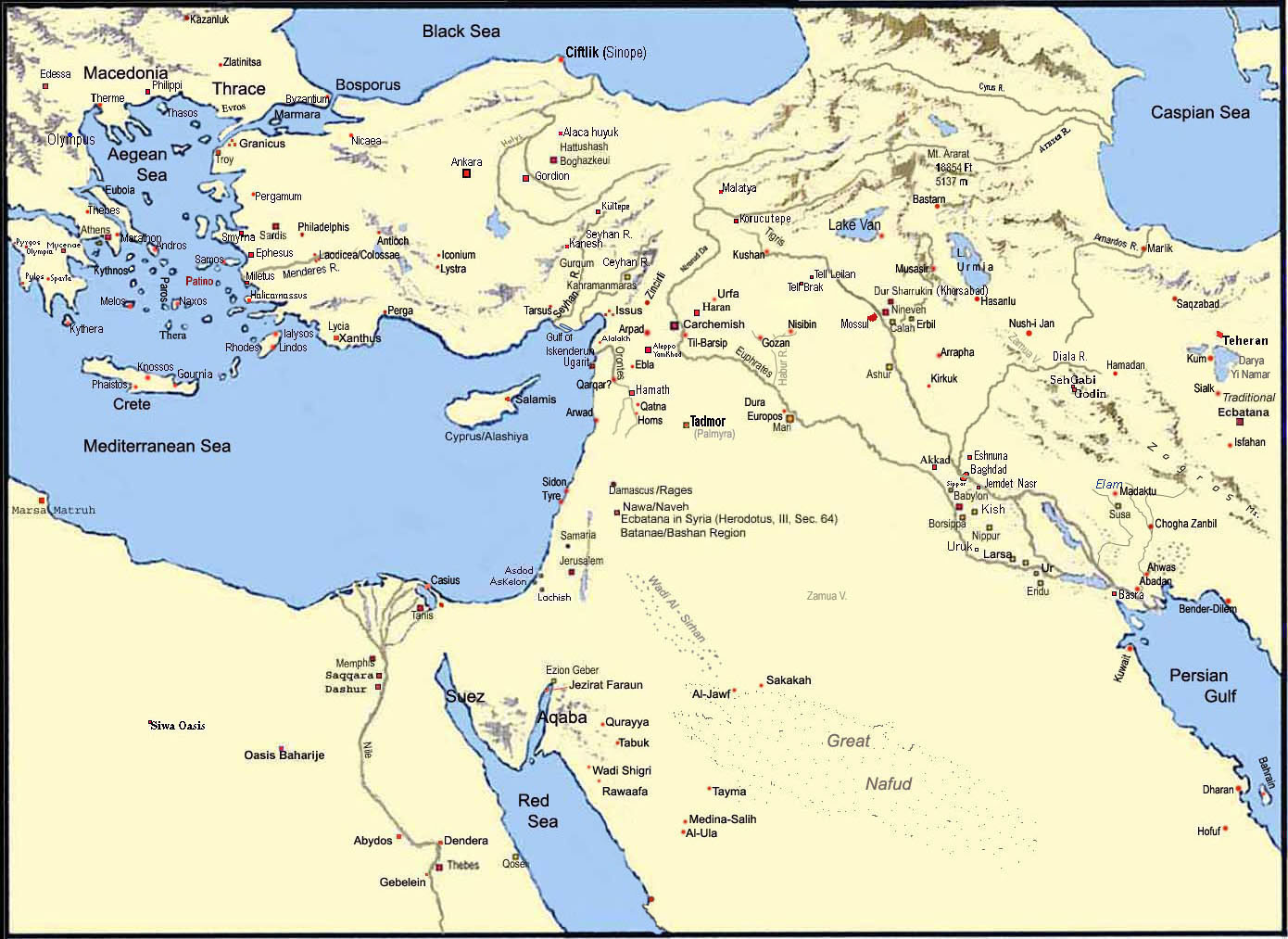 Middle East Map With Rivers And Mountains Map of The Middle East